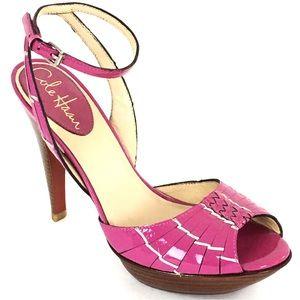 Cole Haan Nike Air Heels 6 B Peep Toe Pink Patent